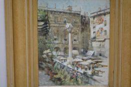 Charles James Lauder R.S.W. (Scottish, 1840-1920), Piazza Delle Erbe, Verona, watercolour, signed