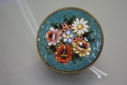 An early 20th century micro-mosaic brooch, circular, designed as a floral bouquet, mounted in gilt-