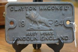 Railwayana: Clayton Wagons Ltd, a cast iron wagon plate, cast to the centre with a lion, dated 1924,