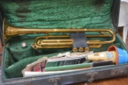 "A Boosey & Hawkes ""Regent"" trumpet, with cone, cased"