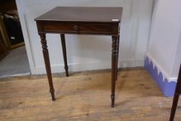 A small mahogany side table in 19th century style, with rectangular top over a frieze drawer, raised