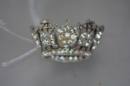 A paste brooch, formed as a coronet, set in silver