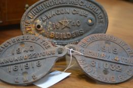 Railwayana: two cast iron registration plates: Midland Railway, 1919, 14 tons; LMS, 1940, 22 tons;