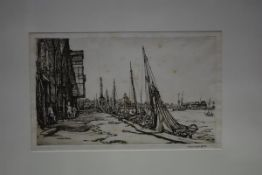After Sir Muirhead Bone (1876-1953), Shrimp Boats, Great Yarmouth, etching signed in pencil, framed.