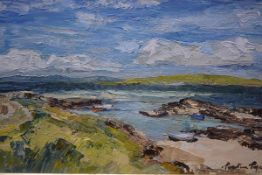 Perpetua Pope (Scottish 1916-2013), Eoligarry Harbour (Barra), signed lower right, oil on board,
