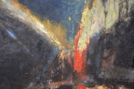 20th Century School, Abstract Composition, oil on canvas, inscribed R. White to stretcher verso.