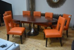 A set of eight contemporary leather and velvet upholstered dining chairs, each in orange leather,
