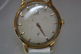 A vintage gentleman's Omega 18ct gold wristwatch, the dial with baton numerals and subsidiary