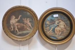 Two stipple engravings, circular, the first titled Jupiter and Calista, in a verre eglomise mount