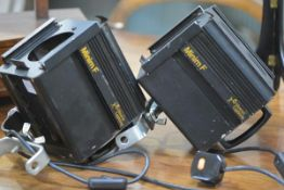 Two vintage Strand Lighting Minim F theatre spotlights