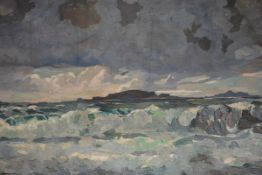 Erskine Beveridge (Scottish, d. 1972), Turbulent Seascape, signed with a monogram, oil on canvas,