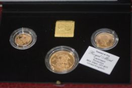 A 1990 United Kingdom Gold Proof Sovereign Three-Coin set, cased, with certificate of