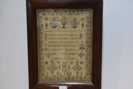 An early 19th century needlework sampler, Sarah Lucy Stapley, Aged 9 Years, 1834, worked with motto,