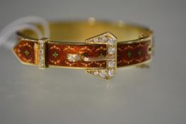 A striking diamond-set 14ct yellow gold and enamel bangle, of belt and buckle form, the buckle set