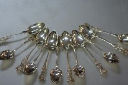 A matched set of twelve Victorian Scottish silver teaspoons, Kings pattern, Glasgow 1858, 1859 and