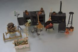 A group of 20th century doll's house furniture and accessories including: two black Victorian