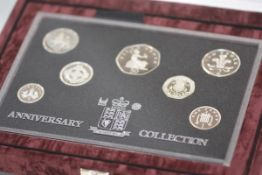 A Royal Mint cased set of silver proof coins, 25th Anniversary of Decimalisation, (7 coins)