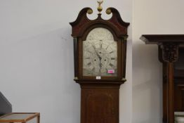 A George III Scottish oak longcase clock, the silvered dial signed Robert Welsh, Dalkeith in the