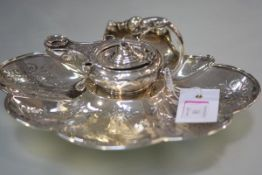 An unusual early Victorian silver inkstand, James Charles Edington, London 1851, the stand of