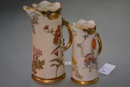 Two 19th century Royal Worcester ewers, each of tapering cylindrical form, painted with floral