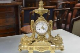 An imposing French gilt-bronze mantel clock, late 19th century, in the Louis XVI taste, the circular