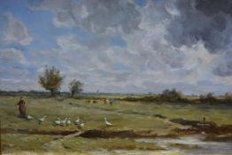 Hector Chalmers R.S.A. (Scottish, 1949-1943), The Gooseherd, signed lower left, oil on board,