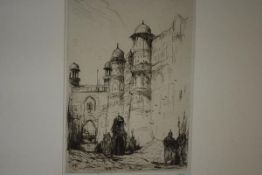 After Marius A.J. Bauer (Dutch, 1867-1932), Gwalior, etching, monogrammed in pencil and numbered no.