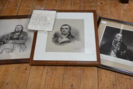 Three 19th century engravings of members of the Napier family: the first of William John, Lord