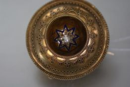 A 19th century diamond and enamel set gold mourning brooch pendant, of circular form, centred by