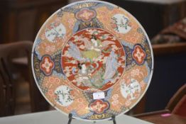 A Japanese porcelain charger, Meiji period, the well painted with two goddesses amidst clouds, the