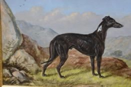 "English School, A Study of the Greyhound, Patch, signed centre left ""J.A. Ashton"" with the date"