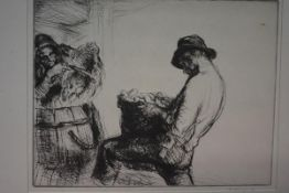 After Edmund Blampied R.E. (1886-1966), Farm Hands, drypoint etching, signed in pencil, in