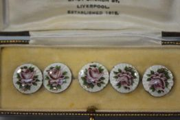 A set of five Edwardian guilloche enamel buttons, Lawrence Emanuel, Birmingham 1910, each centred by