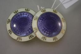 A pair of Edwardian silver-gilt and engine-turned enamel large buttons, Birmingham 1910, each disc