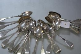 A collection of 19th century Scottish provincial silver teaspoons, Aberdeen, various makers and