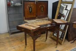 Maple & Co., a handsome Edwardian painted mahogany enclosed dressing table, the hinged cover and