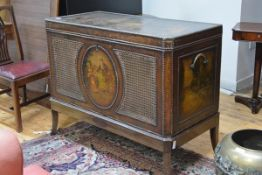 A 19th century painted leather and oak chest on stand, in 18th century style, the hinged cover