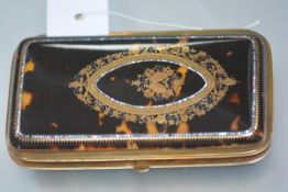 A late Victorian pique work tortoiseshell cigar or cheroot case, of rectangular form, the cover