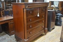 A 19th century mahogany Scotch chest, with frieze drawer above an arrangement of drawers flanked