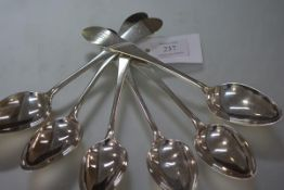 A set of six George III Scottish Provincial silver table spoons, Edward Livingstone, Dundee, c.