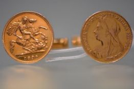 A pair of 1896 gold half sovereigns mounted as cufflinks, each with swivel bar mount stamped 18kt.