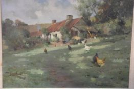 Robert Russell Macnee (Scottish, 1866-1952), A Farmyard Scene with Chickens, signed lower right, oil