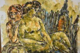 Calvin Waller Burnett (American 1921-2007), Nudes, signed, oil on canvas, framed. 49cm by 60cm.