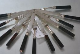 A rare set of mid-19th century Chinese Export fruit knives and forks with bloodstone handles, the