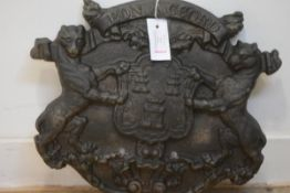 "A 19th century cast-iron coat of arms for the City of Aberdeen, under the motto, ""Bon Accord""."