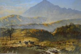 Charles James Jefferson(1831-1902), The Goatfell at Sunset, Isle of Arran, signed lower left, oil on