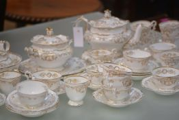 A 19th century Copeland Garrett tea service, each piece moulded and white glazed with gilt-painted