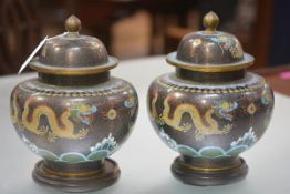 A handsome pair of Japanese cloisonne jars and covers, Meiji period, each of squat baluster form,