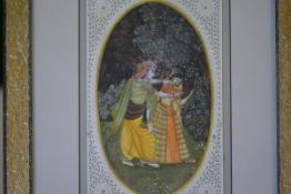 Indian School, Lovers, watecolour on ivorine, framed. Panel 18.5cm by 12cm