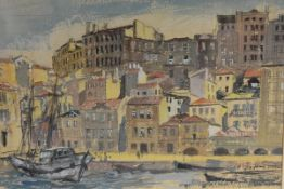 James Miller R.S.A., R.S.W. (Scottish, 1893-1987), A Continental Harbour, signed lower right,